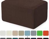 Subrtex Stretch Storage Ottoman Slipcover Protector Oversize Spandex Elastic Rectangle Footstool Sofa Slip Cover
