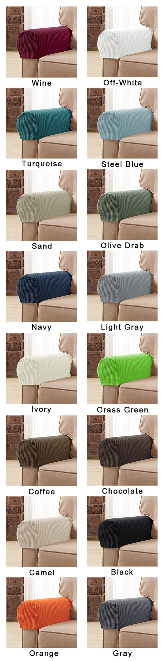 2 Pair Anti-slip Armchair Armrest Covers Furniture Protector PU Gray//Coffee