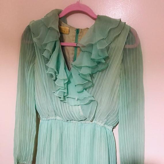 Vintage Green Jack Bryan Green Chiffon Gown