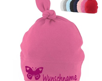 9710822d129 Baby hat knot with name printed motif feet