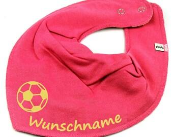 b03fc76a4912d4 HALSTUCH Fußball mit Namen Baby Kind in pink