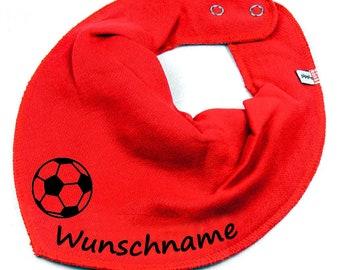 768679ef463259 HALSTUCH Fußball mit Namen Baby Kind in rot