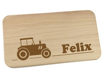 Breakfast board made of wood with name personalized motif tractor