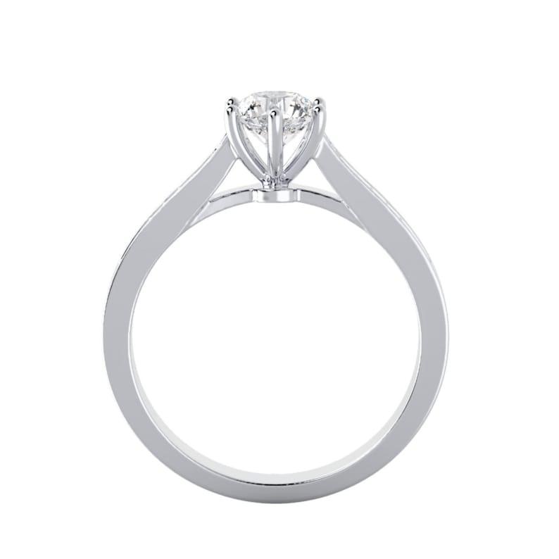 Fantastic 14K White Gold Moissanite Enagagement Ring 0.92ctw DEW
