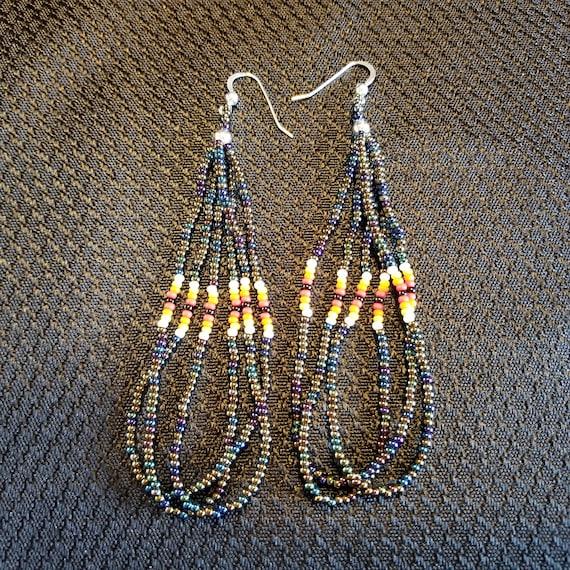 long dangle earrings beaded