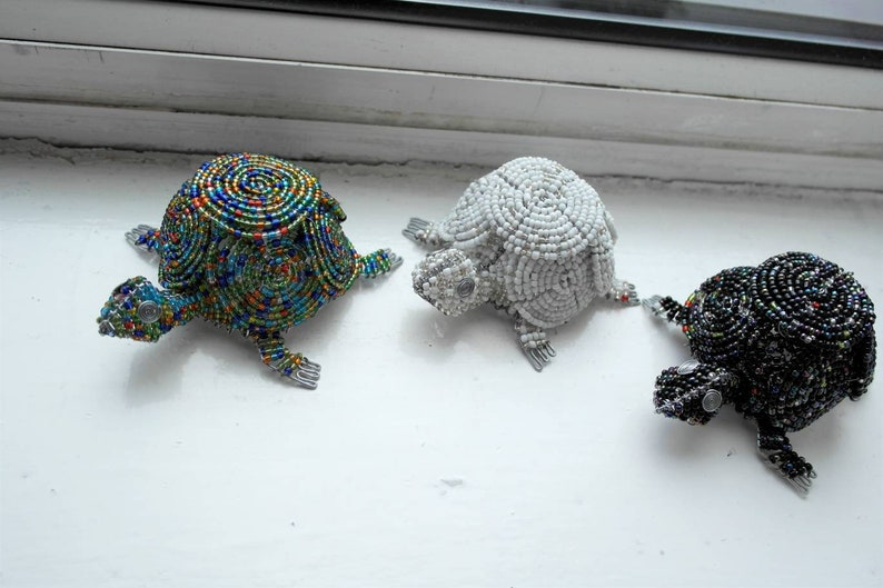Zimbabwe Art Black African Beaded Wire Tortoise Wire Animal