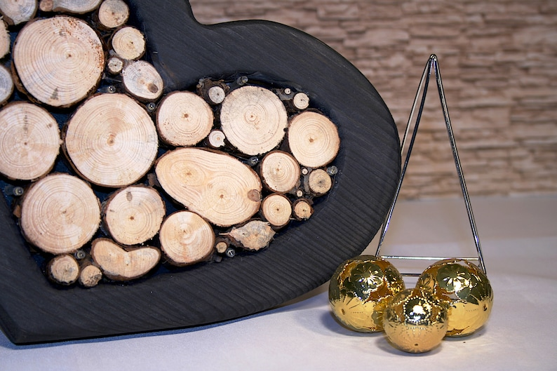 Decorative heart With LED lighting wood Wood Slices Heart Decoration mother/'S day wedding gift custom Battery lit Wood Heart