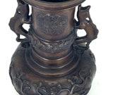 Japanese Bronze Vase with Dragon Handles Meiji Style