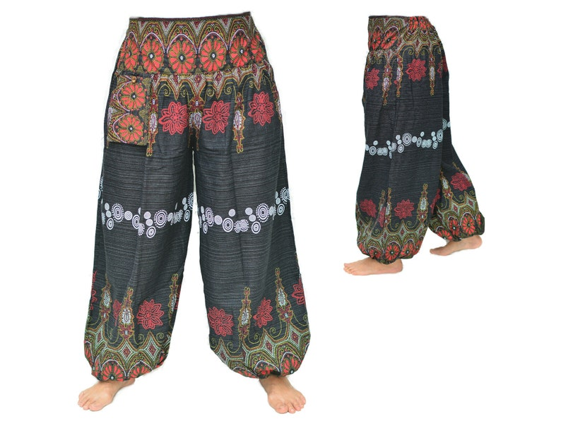 Genie pants Harem Pants men women Flower Design