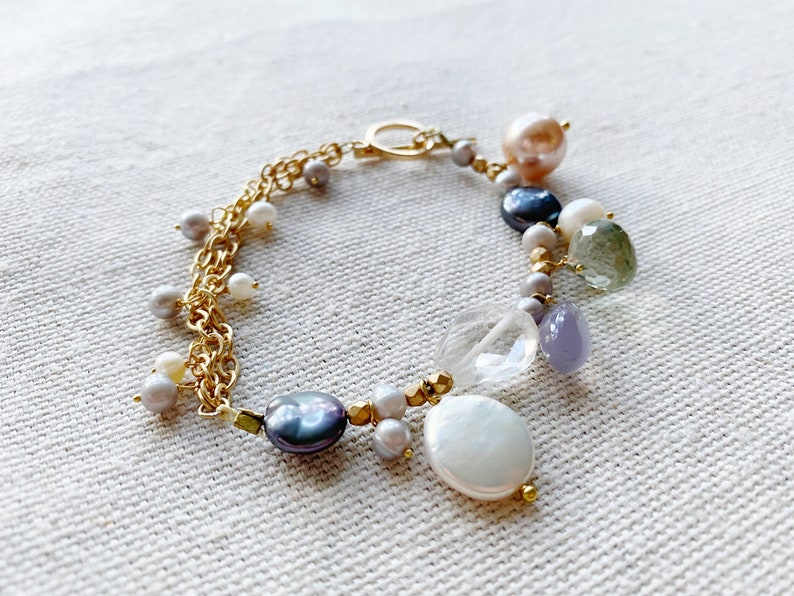 Lavender Chalcedony Gemstone Cluster Ametrine Bracelet with Freshwater Pearls