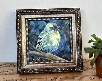 Wall art gift Impasto painting on Canvas Yellow-faced Siskin Bird oil painting on canvas Bird wall decor Bird portrait Bird picture