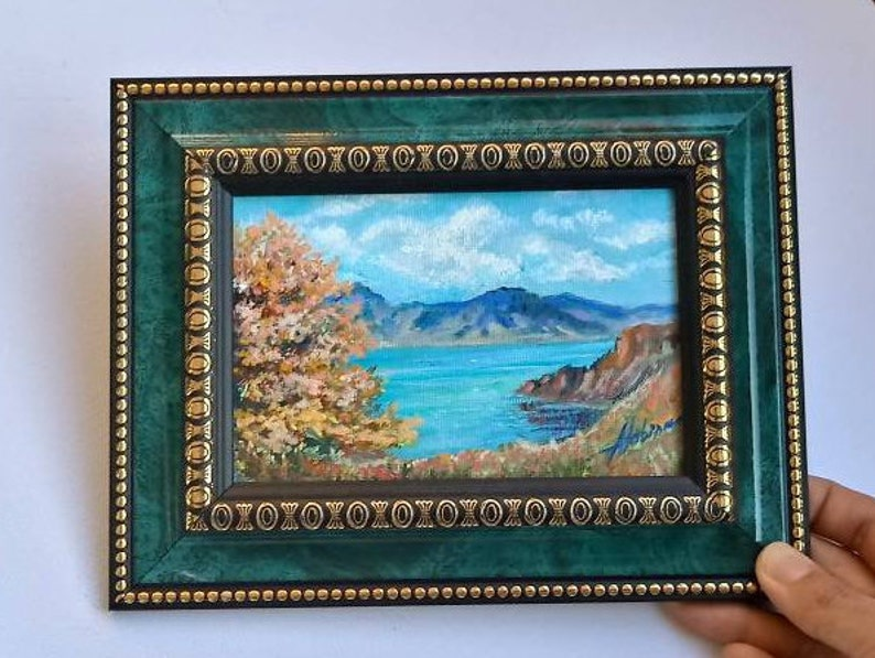 Fall Mini Oil Painting on Canvas 6*4 Framed art Seascape Mountains Custom Original painting Wall decor Home Art Rustic Gift Sweet home Gift