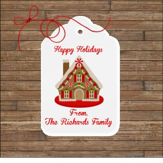 Gingerbread House Tags Gingerbread Favor Tags Holiday Tags