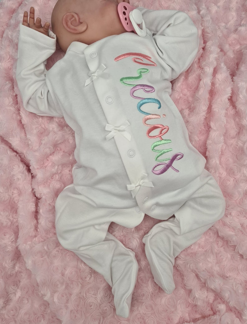 Coming Home Outfit Monogram and Name Coming Home New Baby Gift Personalised Baby Grow All In One Newborn Sleep Suit