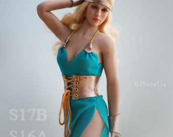 5673d488150 1/6 scale dress, corset and wristbands for Phicen/TBLeague and Hot Toys all  body types
