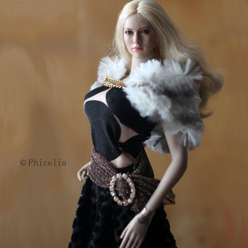 """1//6 Bottines en cuir pour 12/"""" Hot Toys TBLeague Phicen Female Figure U.S.A."""