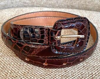 Vintage 80/'s rainbow metallic iridescent reptile embossed leather oversized buckle belt