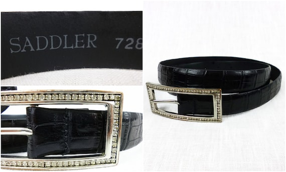 Sattler Leder Gürtel Vintage Sattler Gürtel Kroko Muster geprägt schwarz Leder Gürtel, Kristall verzierten Gürtelschnalle, Wiederverwertung Leder;