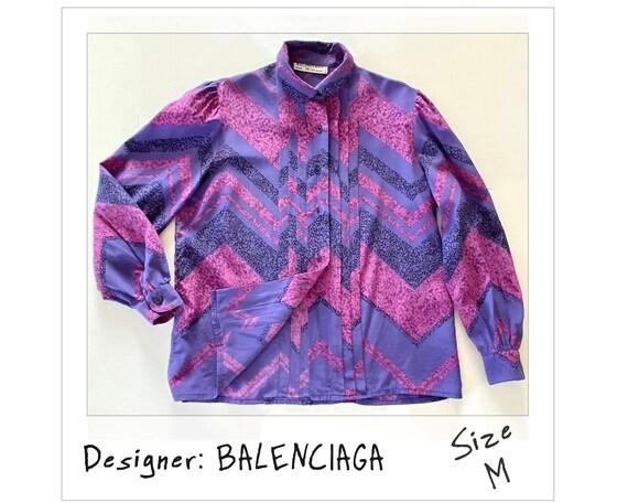 """Vintage Balenciaga Silk Blouse """"BALENCIAGA Paris"""""""