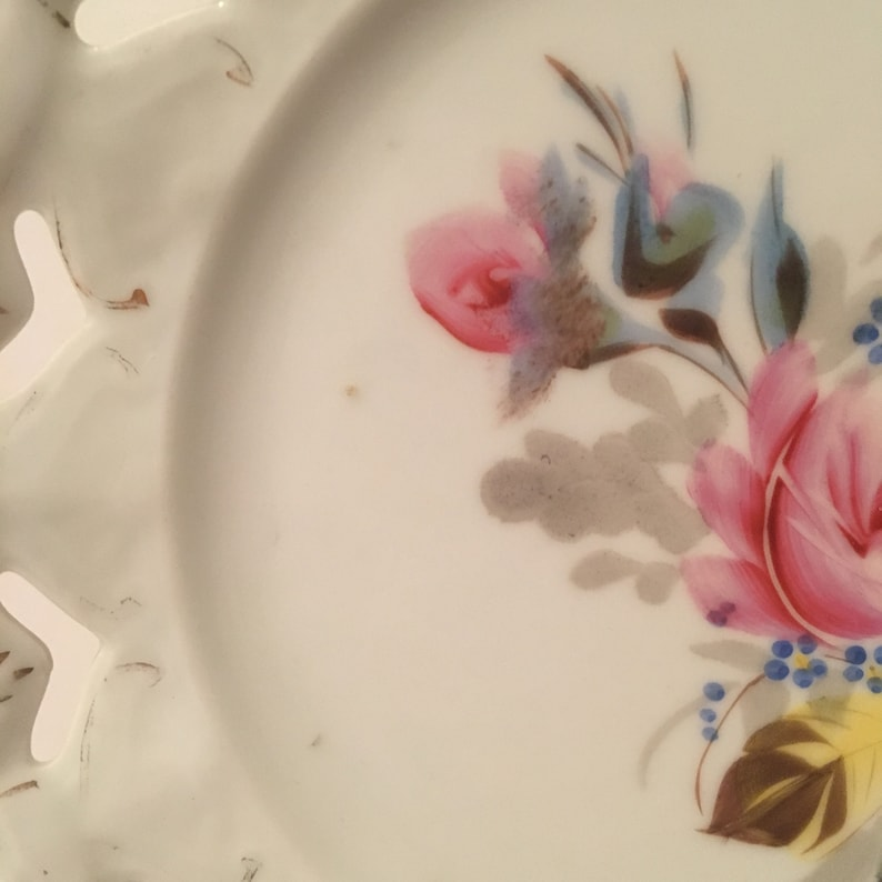 Vintage Reticulated Rose Plate