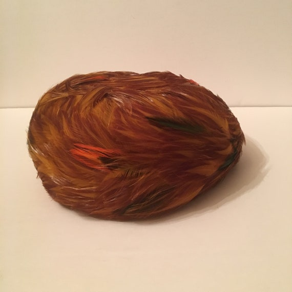 Vintage 1960s Feathered Pillbox Hat