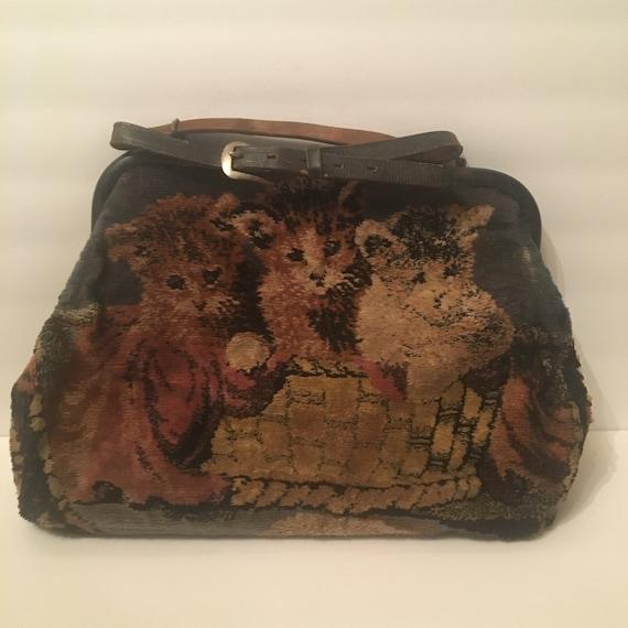 Vintage 1930s Cat And Dog Carpet Handbag