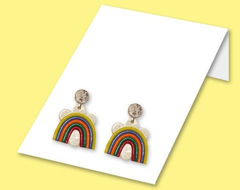 Statement Earrings Handmade Earrings Be The Rainbow In Someone/'s CloudBold Dangles| Polymer Clay Earrings Drop Earrings Dangle Earrings