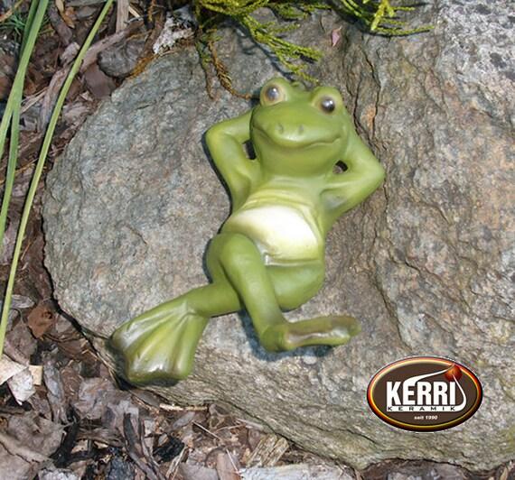 Frosch Gartendeko wetterfest KERRI Keramik Frösche Teichdeko Froschfigur Frog