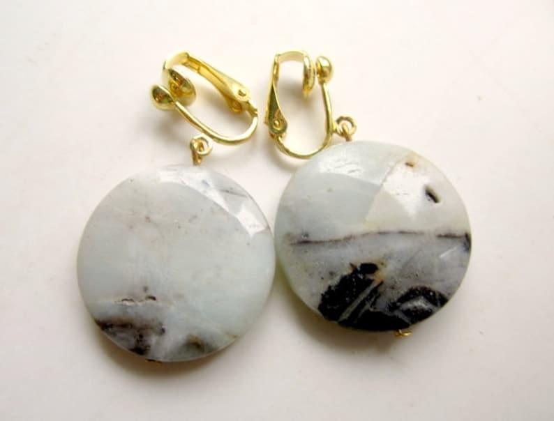 Ear clips Amazonit gold AmazonitEarrings clip on natural jewelry earrings