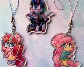 My Little Pony | Twilight Sparkle | Pinkie Pie | Fluttershy | Equestria Girls | Holographic Acrylic Charms/Keychains
