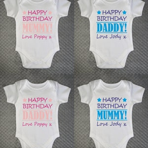 Blue Text Baby Grow Vest Bodysuit Happy Birthday Daddy Personalised by NAME