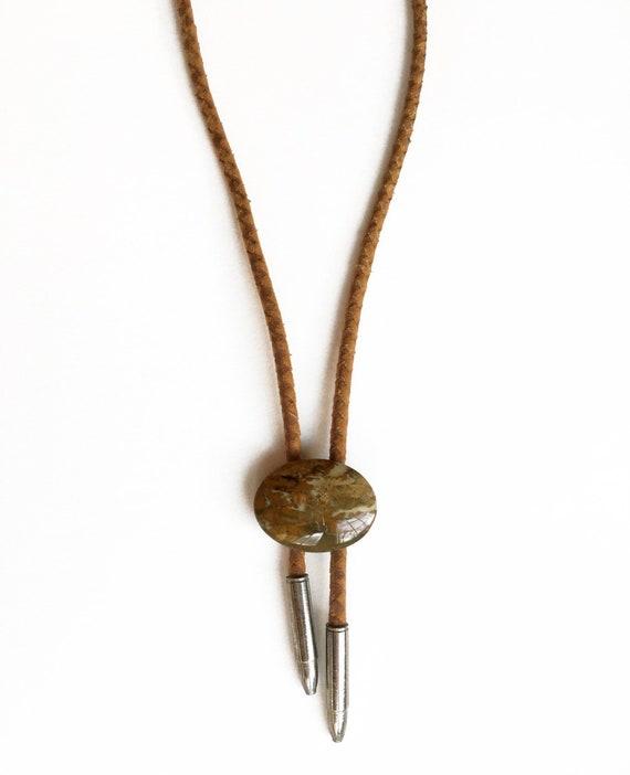 Vintage Bolo Tie Necklace brown marble bolo tie
