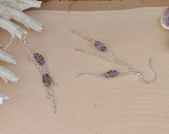 Chained Gemstone Earrings featuring Amethyst and Labradorite