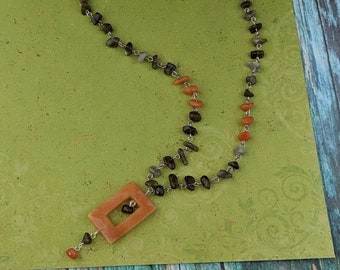 Handmade Gemstone Chain Necklace with Labradorite and Aventurine Chips and an open Aventurine Focal Stone