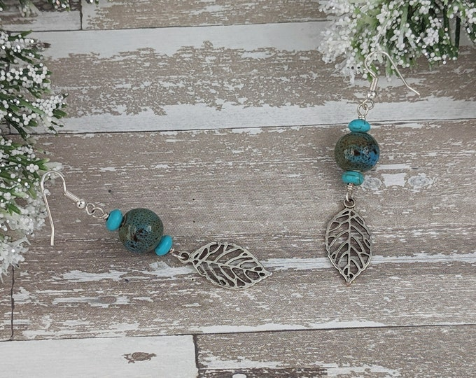 Porcelain Feather Earrings Turquoise and Teal Dangly Boho Earrings