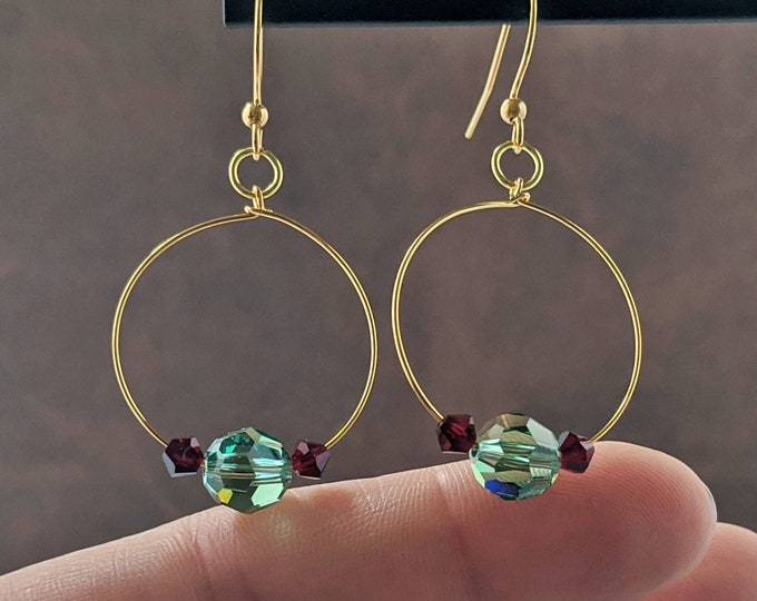 Colorful Swarovski Hoop Drop Earrings with Gift Box