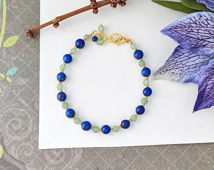 Aventurine and Lapis Lazuli Beaded Handmade Bracelet