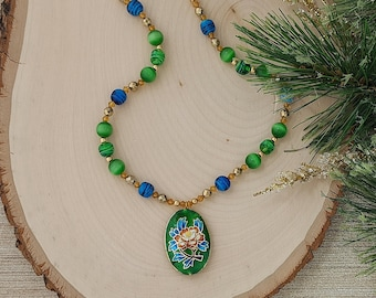 Blue and Green Bauble Necklace with a Cloisonné Flower Pendant