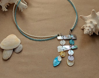 Blue and White Seashell Sampler Necklace