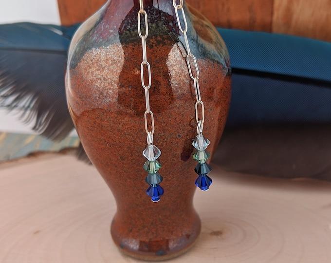 Long Simple Swarovski Drop Earrings in Sterling Silver