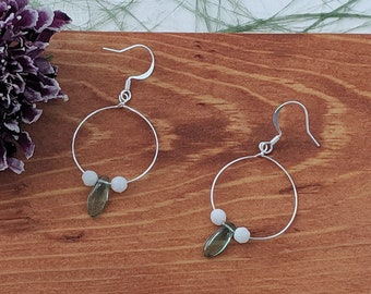 Green Spike Hoop Earrings