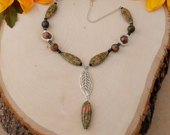 Unakite Feather Necklace