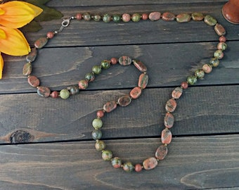 Unakite Gold Dust Necklace