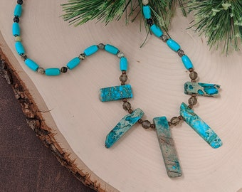 Splash in the Waves Necklace Handmade with Imperial Jasper African Turquoise