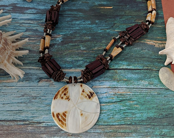 Driftwood Necklace with Shell Pendant