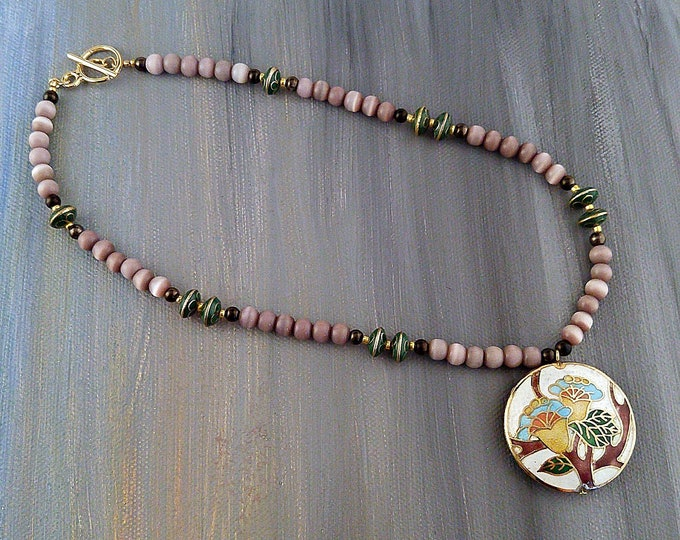 Cloisonné Garden Necklace with Lavender Beads