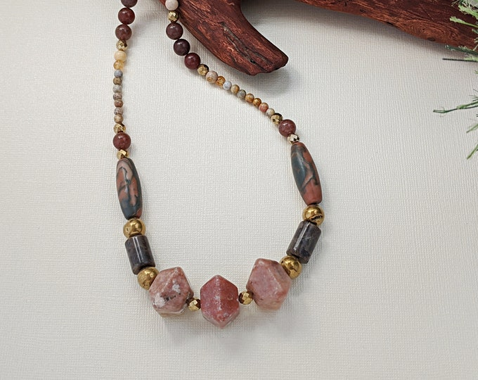 From the Pink of the Earth Handmade Natural Stone Necklace