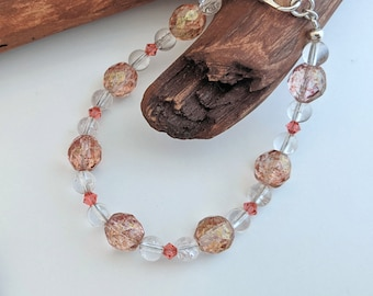 Clearly Pink Bracelet featuring Swarovski Crystals and Quartz