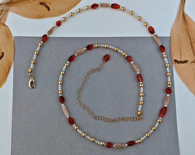 Carnelian and Moonstone Handmade Beaded Necklace with Extender Chain