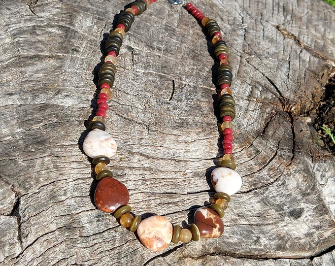 Moukaite and Citrine Choker Handmade Necklace
